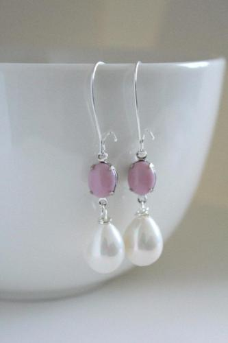 Pink Glass Pearl Drop Earrings - bel monili, Pittsburgh PA, country living fair, vintage market days