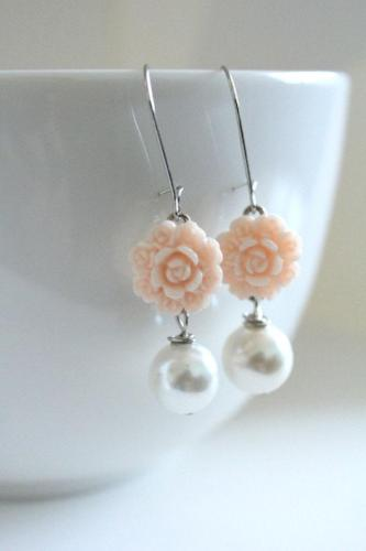 Blush Flower Drop Earrings - bel monili, Pittsburgh PA, country living fair, vintage market days