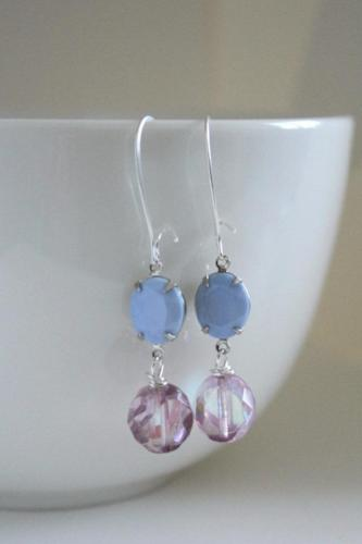 Periwinkle Blue & Pink Czech Glass Earrings - bel monili, Pittsburgh PA, country living fair, vintage market days