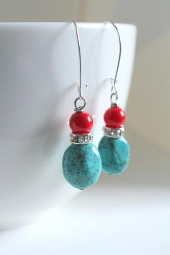 Turquoise & Coral Earrings - bel monili, Pittsburgh PA, country living fair, vintage market days