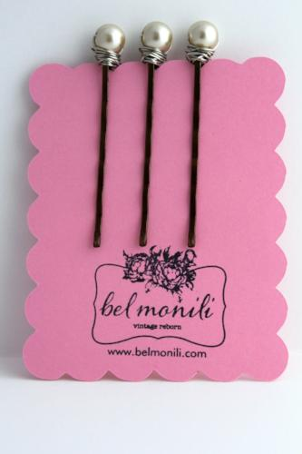 Champagne Pearl Bobby Pins - bel monili, Pittsburgh PA, country living fair, vintage market days