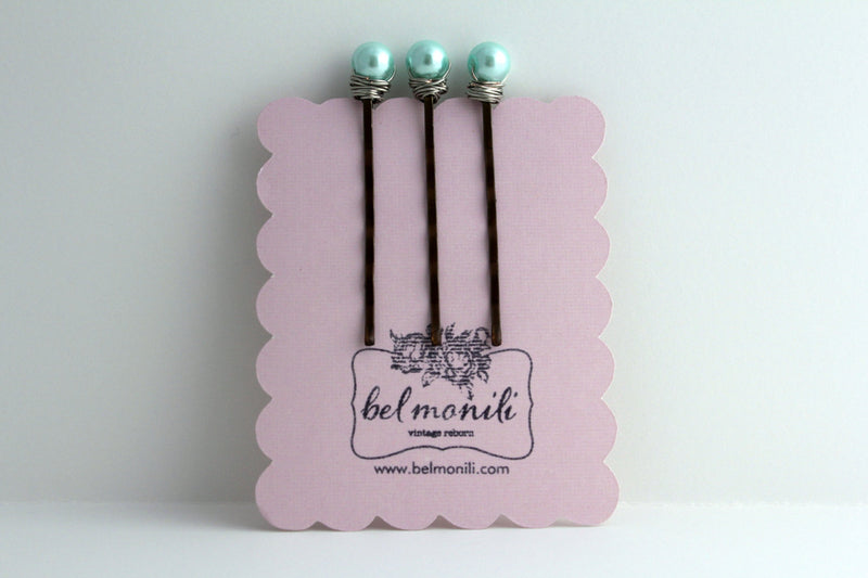 Blue Pearl Bobby Pin Set - bel monili, Pittsburgh PA, country living fair, vintage market days