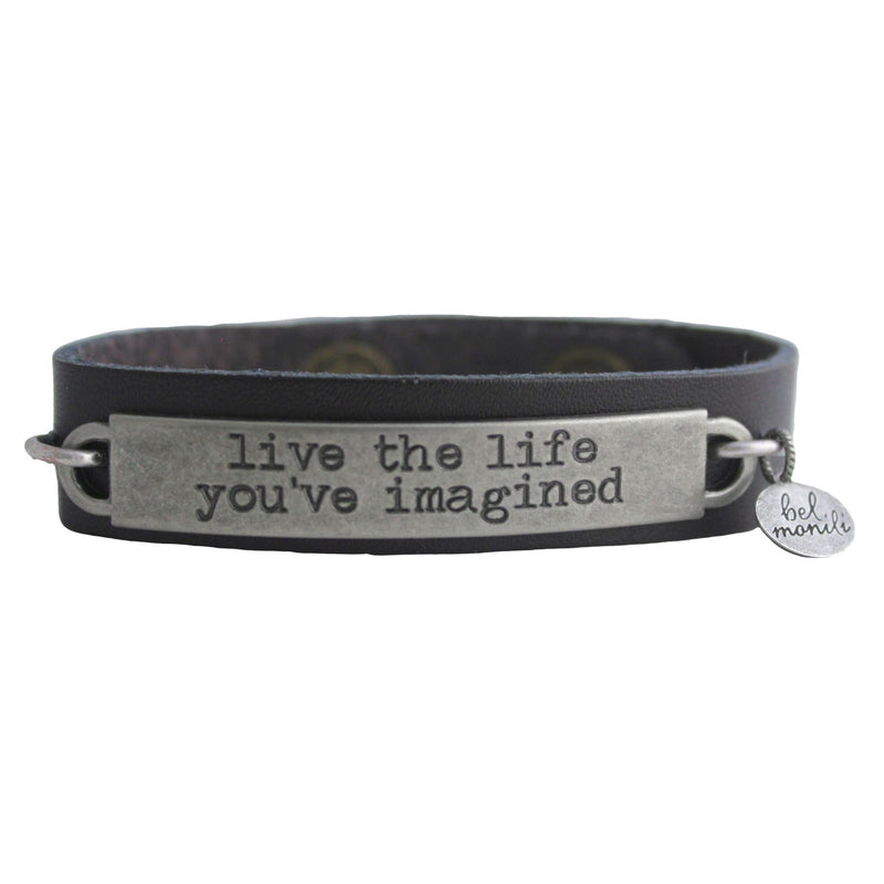 Inspirational Quote Leather Cuff Bracelet