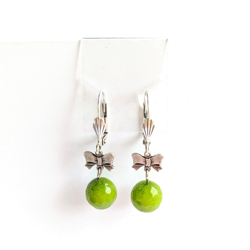 Colorful Bead Earrings with Silver Bow (multiple colors available)