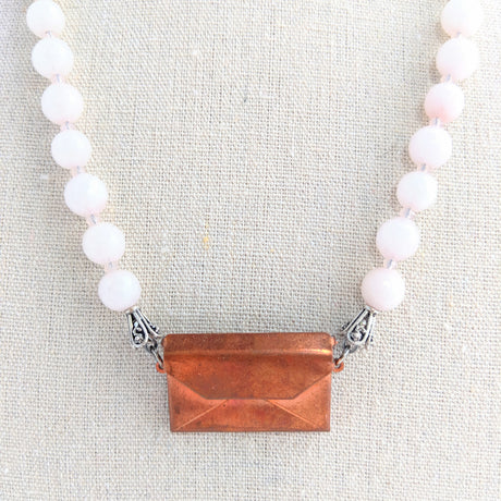 Pink Beaded Vintage Copper Envelope Locket Necklace