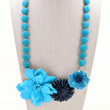 Turquoise Blues Vintage Flower Collage Necklace