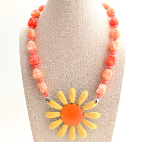 yellow and orange enamel daisy necklace