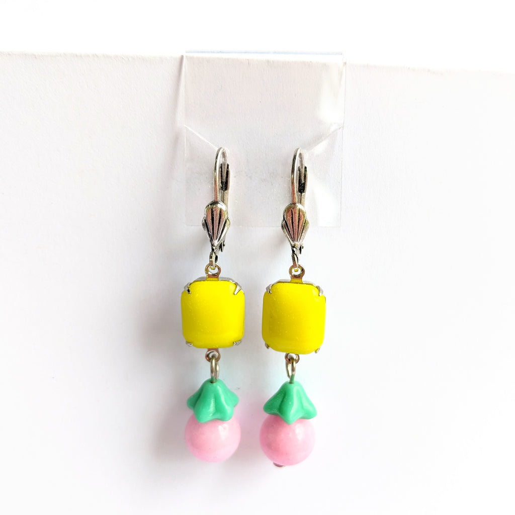 Pink and Yellow Colorful Earrings