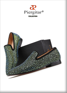 Piergitar Emrald Green and Ruby Red colors shining rhinestone luxurious loafers