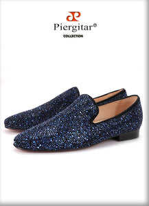 Piergitar Luxurious Leather Shoes with Mixed Colors Rhinestones