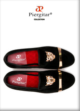 Tiger and Gold buckle Men Velvet Loafers