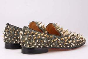 Gold Spikes Red Bottom Handmade Loafers