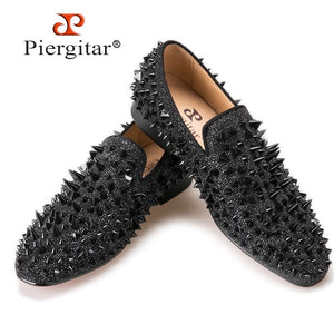 288d14a1ab2 Black Rivet with Red Bottom Handmade Loafers