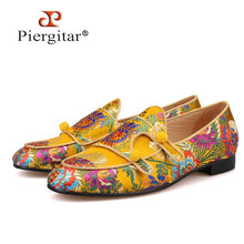 Piergitar Men Chinese Silk Shoes with Exquisite Oriental Pattern