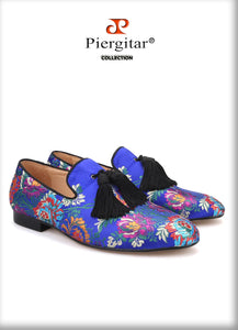 Piergitar brand new Floral print men's silk shoes with tassel