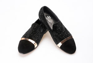 Black Diamond Men's Suede Loafer accessorized with Gold Strap
