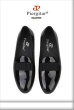 Black Patent Leather Handmade Loafers with Black Bowtie