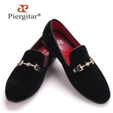 Shining Star Metal buckle Men Velvet Loafers