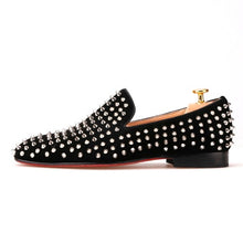 Black Nubuck Leather Shoes with Silver Rivet and Red Sole