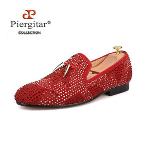New Ruby Red and Exquisite Black Crystal Men Shoe with Gold tassel