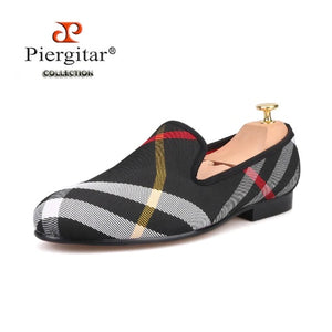 Piergitar British Style Handcrafted Men Plaid Loafers