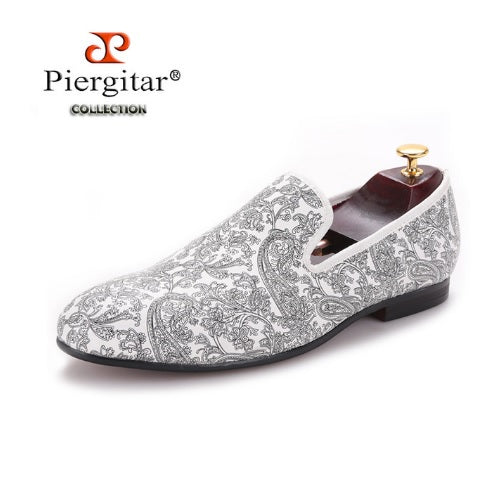 New Paisley Print Men's Easy to Wear White Loafer