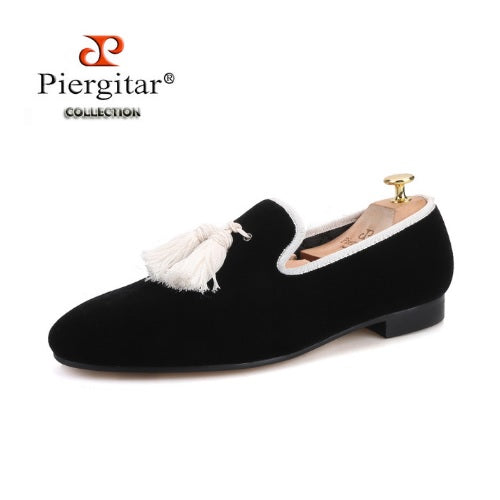 Piergitar Black Velvet Men's Loafers with Designer White Tassel