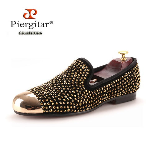 New Gold Toe and Gold Crystal Handmade Men Loafers