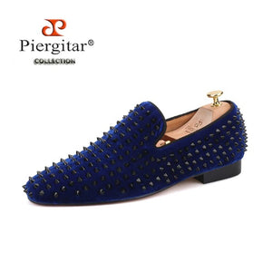 Piergitar Italian style Handmade men velvet shoes with black spikes