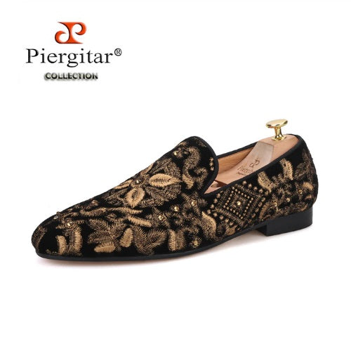 Gold Embroidery Handmade Men Loafers