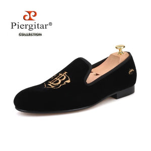 Piergitar Handcrafted Gold Embroidery Men Velvet Loafers