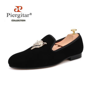 Rhinestone Fox Buckle New Style Men Velvet Shoes