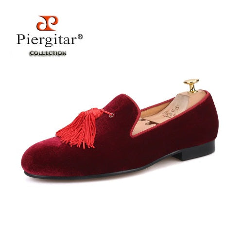 Piergitar Brand New Burgundy Color Velvet Men Handmade Shoes