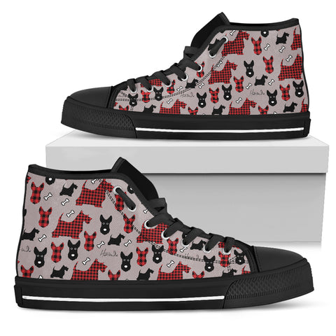 Tartan Terrier - Scottish Terrier - Mens High top shoes