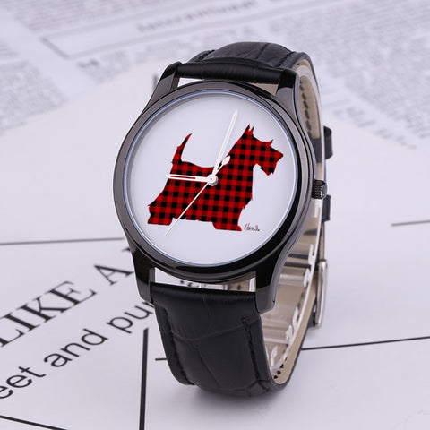 Prints - Scottish Terrier - 30 Meters Waterproof Quartz Fashion Watch With Black Genuine Leather Band