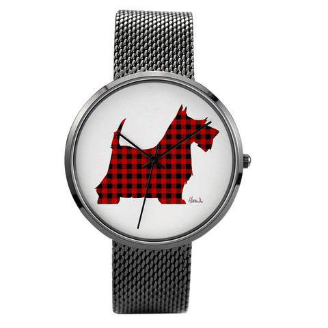 Prints - Scottish Terrier - 30 Meters Waterproof Quartz Fashion Watch With Casual Stainless Steel Band