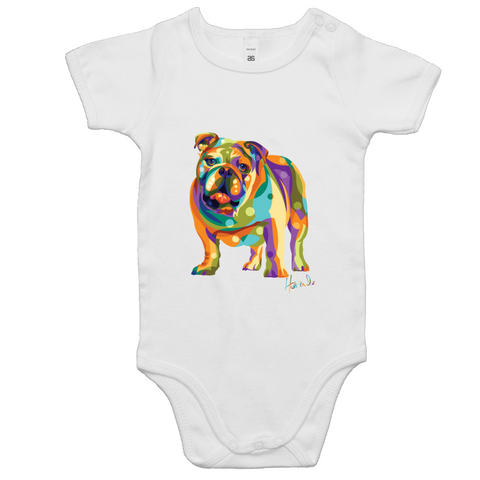 Pop Art - Bulldog (fb) - Baby Onesie Romper