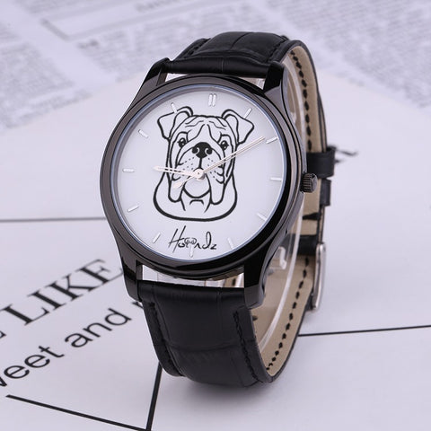 Faces - Bulldog - 30 Meters Waterproof Quartz Fashion Watch With Black Genuine Leather Band