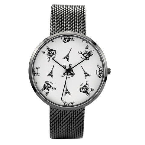 Prints - French Bulldog - 30 Meters Waterproof Quartz Fashion Watch With Casual Stainless Steel Band