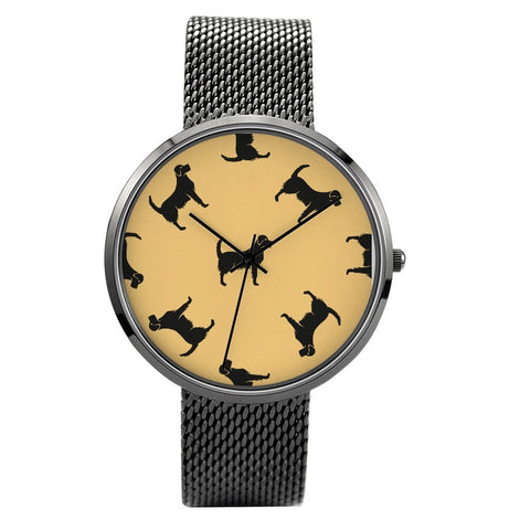 Prints - Labrador - 30 Meters Waterproof Quartz Fashion Watch With Casual Stainless Steel Band