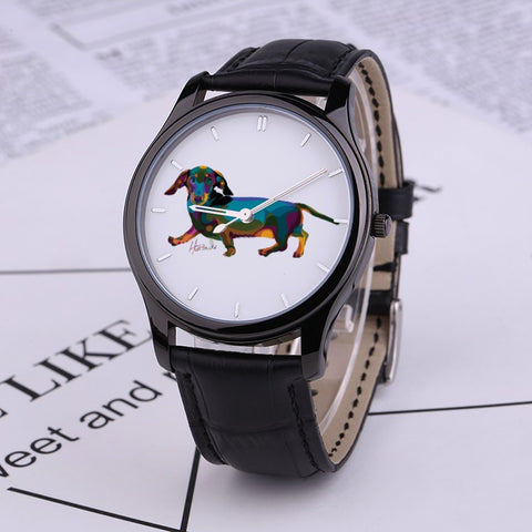 Pop art- Dachshund - 30 Meters Waterproof Quartz Fashion Watch With Black Genuine Leather Band