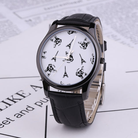 Prints - French Bulldog - 30 Meters Waterproof Quartz Fashion Watch With Black Genuine Leather Band