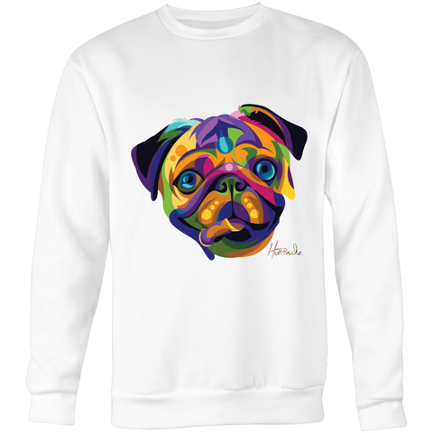 Pop Art - Pug (f) - Crew Neck Jumper Sweatshirt