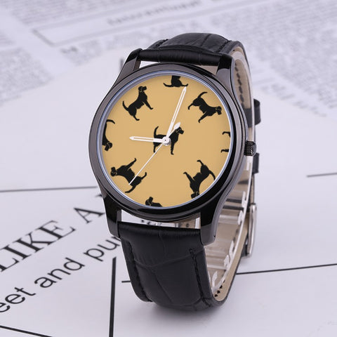 Prints - Labrador - 30 Meters Waterproof Quartz Fashion Watch With Black Genuine Leather Band