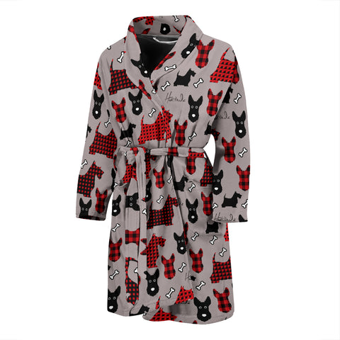 Tartan Terrier - Scottish Terrier - Mens Bathrobe