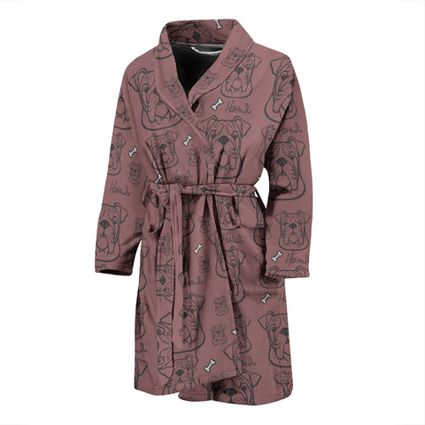 Serious Face - Bulldog - Mens Bathrobe