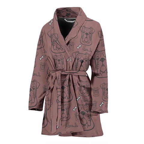 Serious Face - Bulldog - Womens Bathrobe