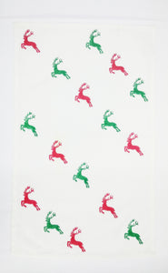 flying reindeer tea towel