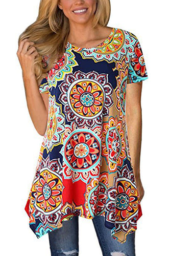 BBX Lephsnt Womens Shirt Printed Short Sleeves Tunic Tops Casual Flowy Irregular T Shirt