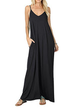 BBX Lephsnt Summer Dresses Womens Casual Plain Flowy Loose Spaghetti Strap Sleeveless Maxi Dress with Pockets …